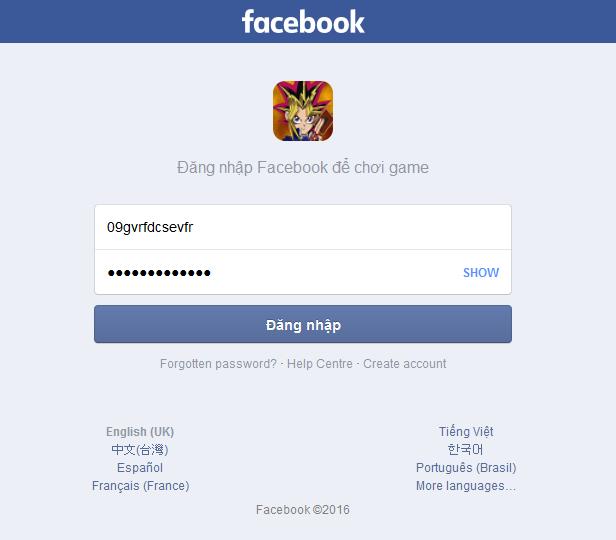 Cảnh báo – Thêm một trò lừa đảo lấy tài khoản facebook với Yugi Oh Online