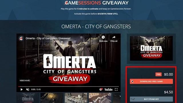 Nhận ngay tựa game xã hội đen Mafia - Omerta: City of Gangsters đang miễn phí
