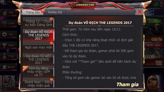 Xạ thủ CFL đổ xô dự đoán The Legends để trúng thưởng thật nhiều Gem