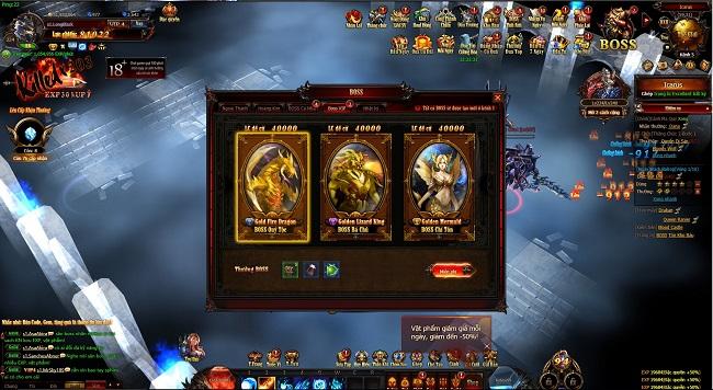 Hệ thống Boss đa dạng của MU Online Web