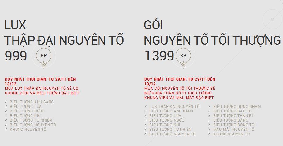 Vậy là so với giá dự tính, thì Lux Nguyên Tố còn mắc hơn các trang phục Tối  Thượng khác.