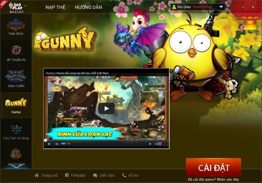 Chơi Gunny hào hứng hơn với 360Play