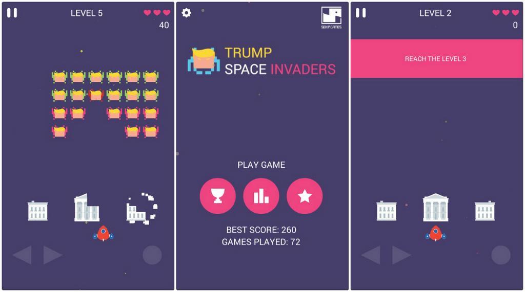 Trump Space Invaders: 'Bắn ruồi' cực vui nhộn với tổng thống Donald Trump