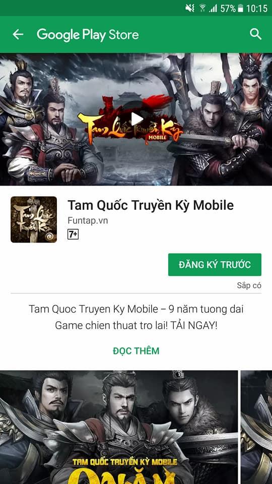 NÓNG: Đã có thể Đăng ký tải sớm Tam Quốc Truyền Kỳ Mobile trên Google Play
