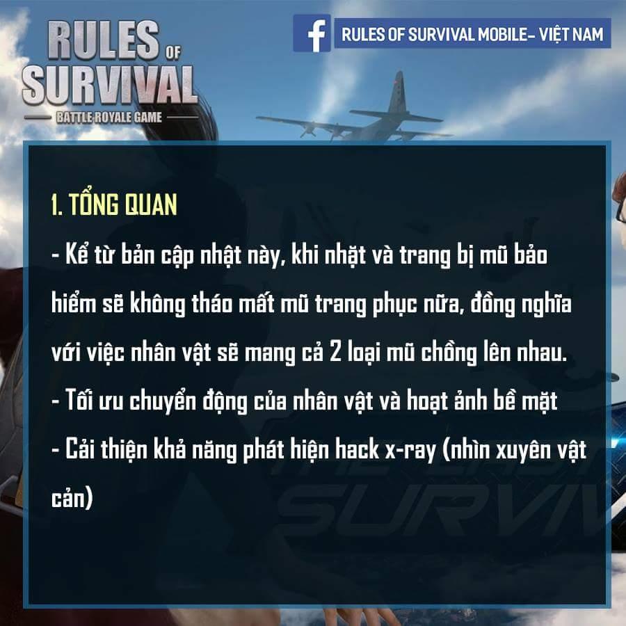 Chi tiết bản cập nhật mới của Rules of Survival
