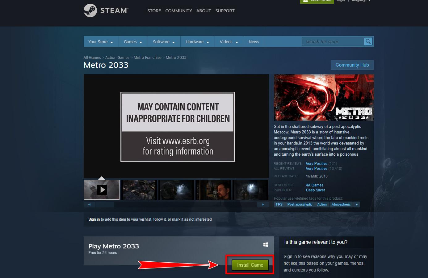 Nhận ngay bom tấn Metro 2033 đang miễn phí trong vòng 24H