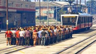 GTA V - Điều thú vị khi 100 người đối diện với đoàn tàu điện