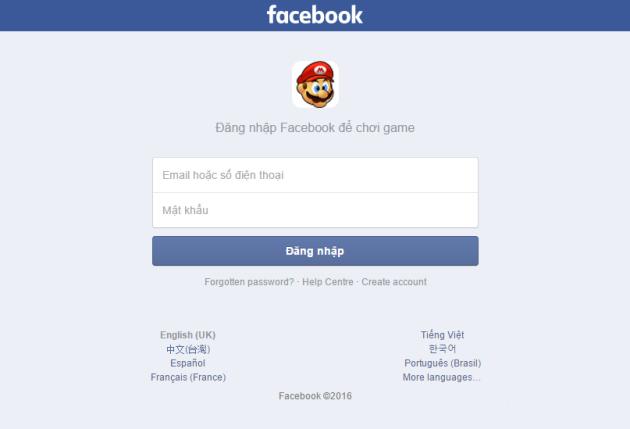 Cảnh báo - Mất tài khoản Facebook khi chơi game Mario Online