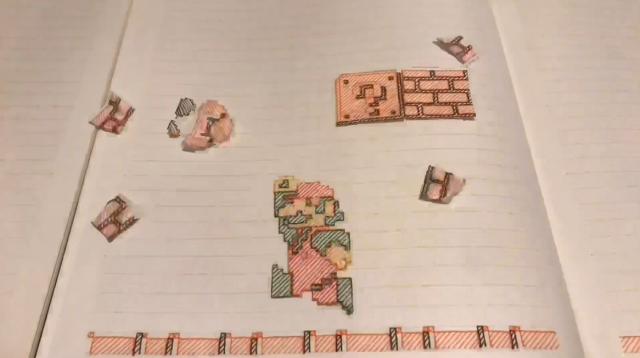 Super Mario Bros World 1-1 được tái tạo hoàn hảo trên... quyển vở của người hâm mộ Nhật Bản