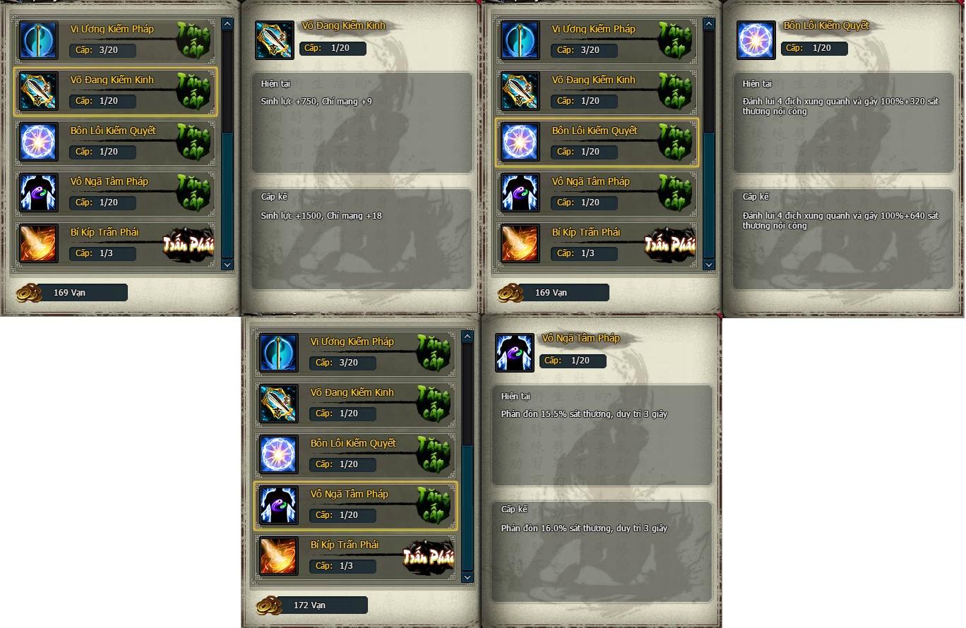 Tổng hợp skill 3 phái trong Webgame Võ Lâm Truyền Kỳ VNG